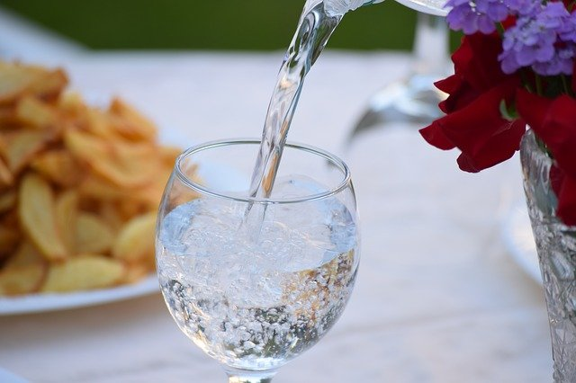 A close up of a glass vase on a table